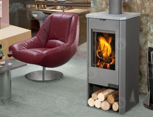 TALA 15 TV plech + kámen - krbová kamna s teplovodním výměníkem